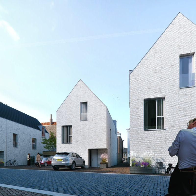 Impressie 2 gevels witte woningen